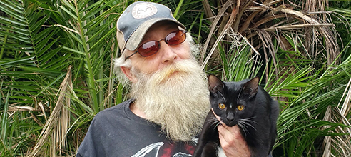 Stephen and his cat found affordable housing for formerly homeless people at Pathlight HOME